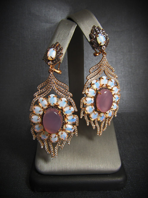 Pink Cabochon, Opalite, & Smoky Topaz 14KT Gold Plated Sterling Silver Earrings
