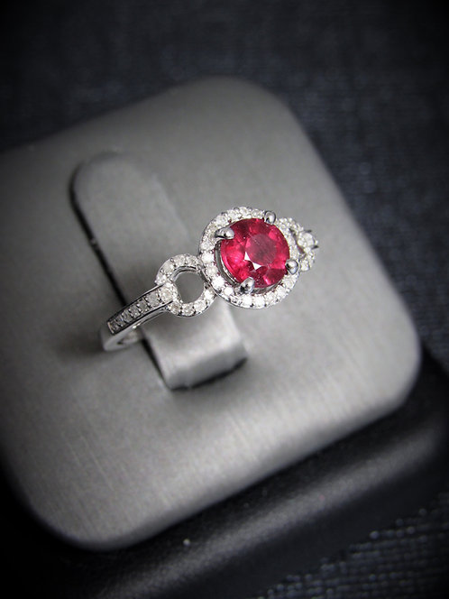 14KT White Gold Diamond And Ruby Halo-Style Ring
