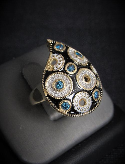 14KT Yellow Gold Diamond And Black Enamel Ring