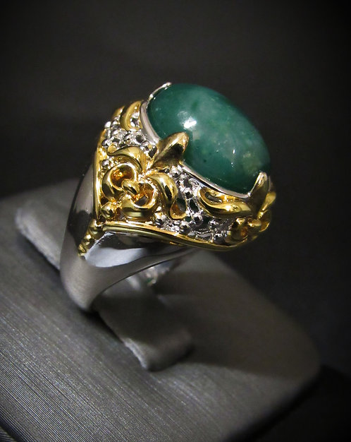 Green Agate Filigree 14KT Yellow Gold Plated Sterling Silver Ring