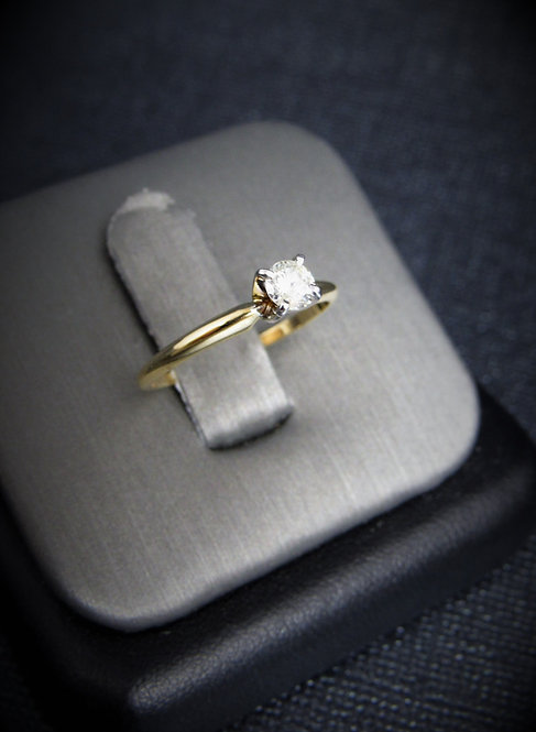 14KT Yellow Gold Round Cut Diamond Solitaire Engagement Ring