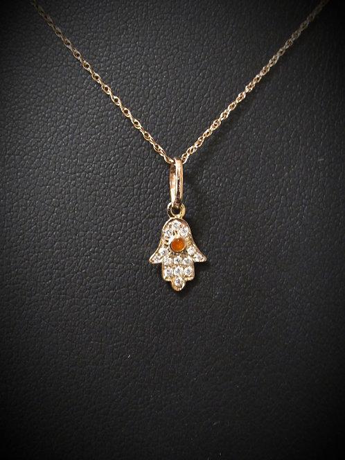 14KT Rose Gold Pavé Diamond Protective Hamsa Necklace