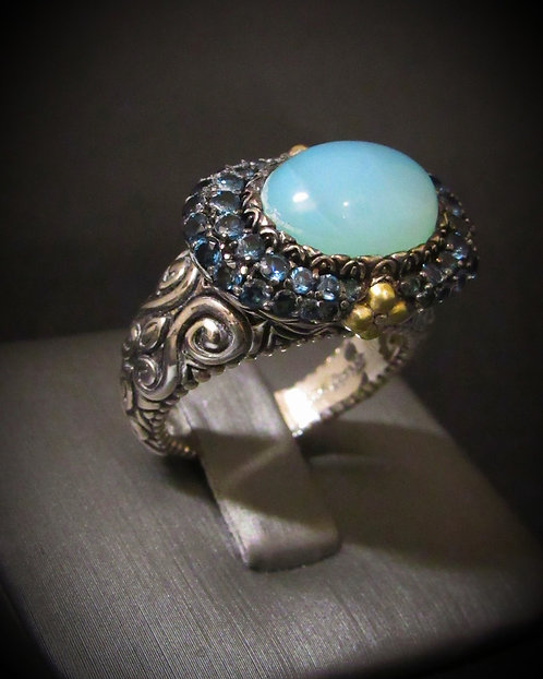 Chalcedony & London Blue Topaz 18KT Gold Plated Filigree Sterling Silver Ring