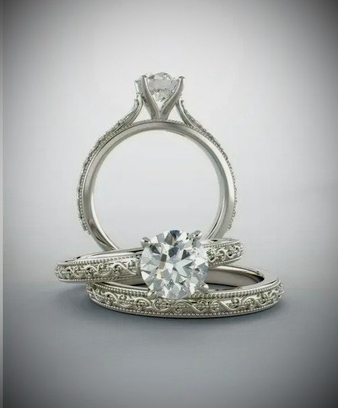 14K White 6.5 mm Round Solitaire Engagement Mounting