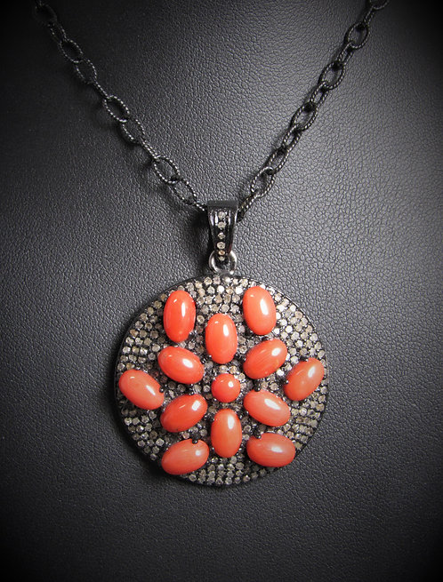 '925 Sterling Silver Diamond And Coral Pave Round Pendant