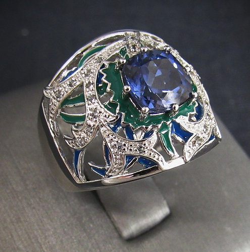 Tanzanite Enamel 18KT Gold Plated Sterling Silver Ring
