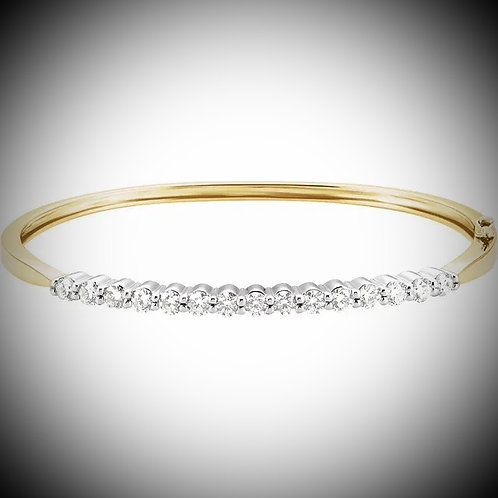 14KT Yellow And White Gold Diamond Bangle Bracelet