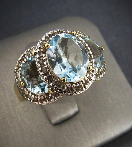 Blue Topaz With White Sapphires 18KT Yellow Gold Plated Sterling Silver Ring
