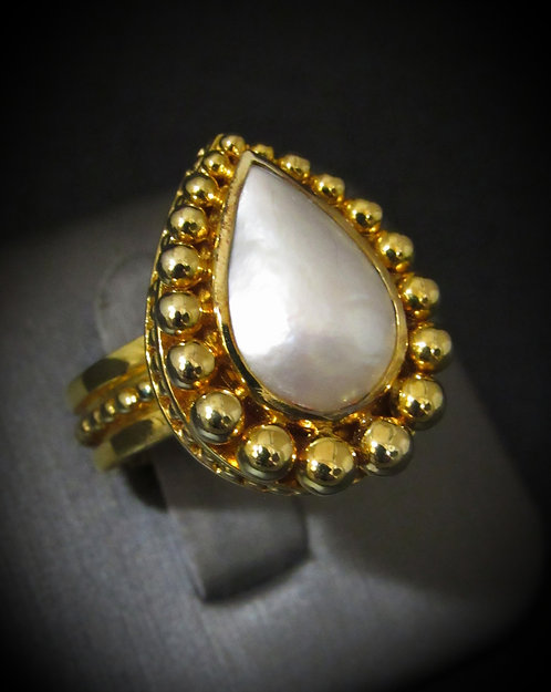 Pear Shape White Pearl 18KT Yellow Gold Plated Sterling Silver Ring