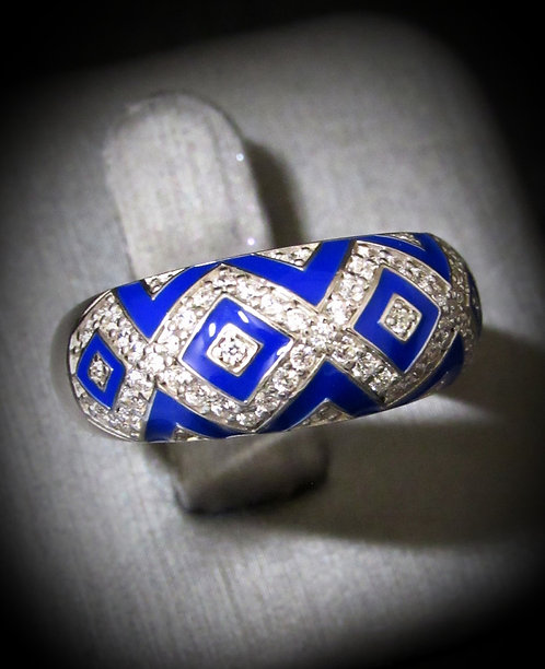 Hidalgo Diamond Shape Cobalt Royal Blue Enamel & Diamonique Sterling