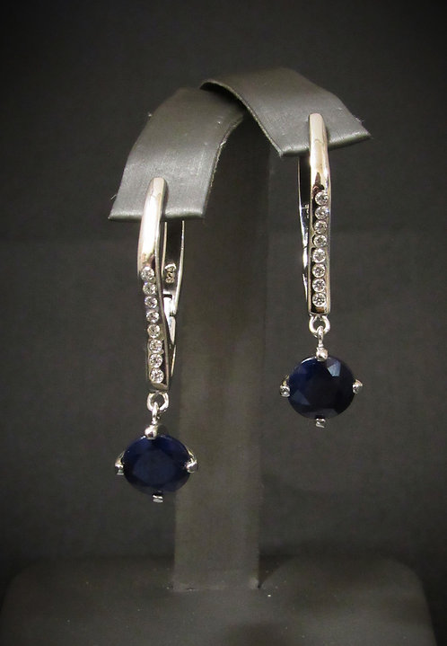 Long Sapphire & White Topaz 14KT Gold Plated Sterling Silver Drop Earrings