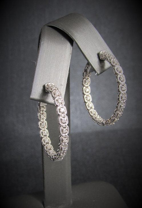 14KT White Gold Diamond Inside-Outside Halo Style Hoops