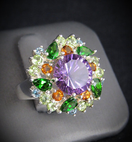 Amethyst, Citrine, Peridot, & Emerald Cluster Sterling Silver Ring