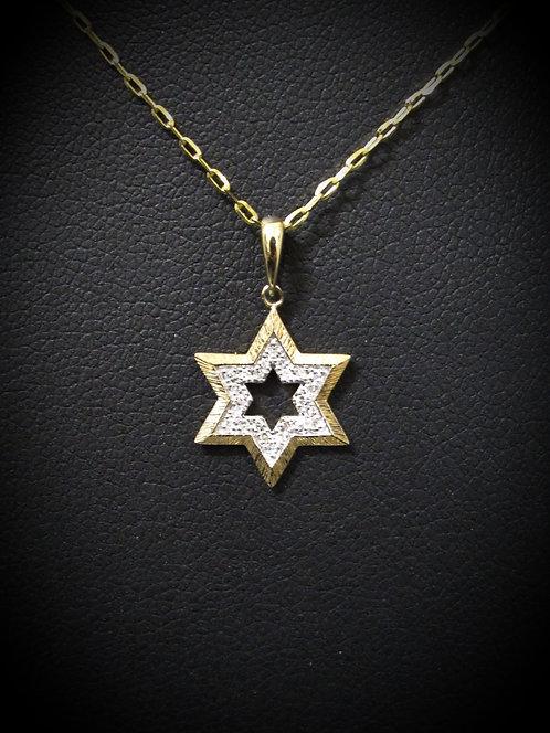 14KT Yellow Gold Pavé Diamond Star of David Necklace