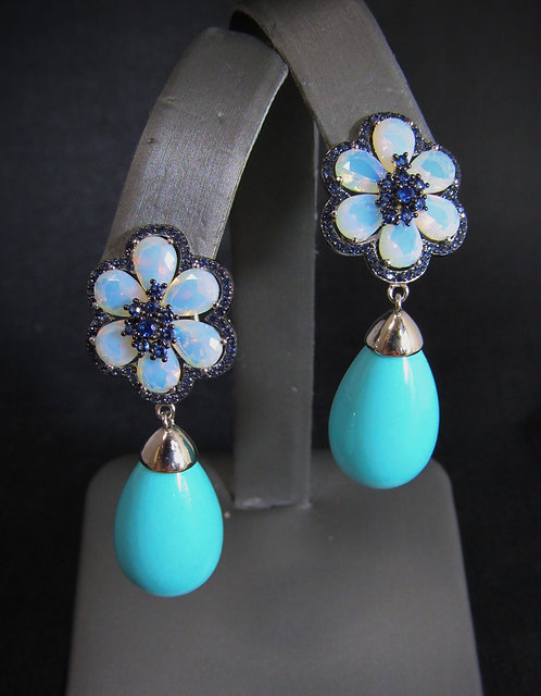 Pear Turquoise, Opalite, & Blue Sapphire 14KT Gold Plated Earrings