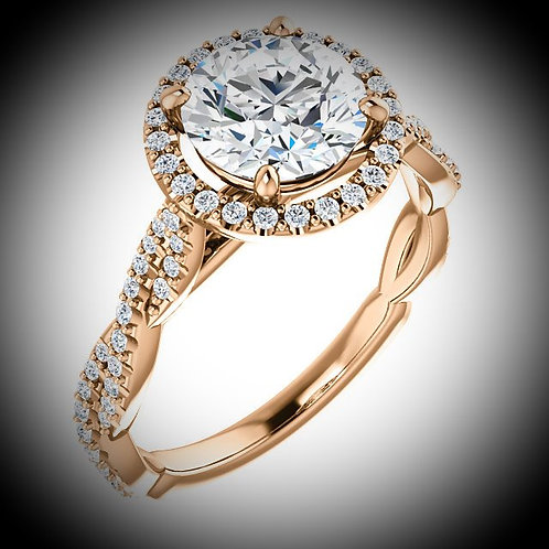 14KT Rose Gold Round Cut Halo Style Engagement Ring