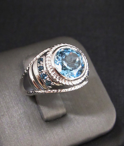 Round Blue Topaz & Blue Sapphire 18KT Gold Plated Sterling Silver Ring