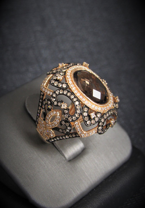 14KT Rose Gold Diamond And Smoky Topaz Filigree Style Ring