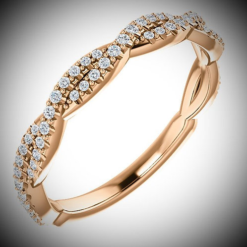 14KT Rose Gold Diamond Twisted Band