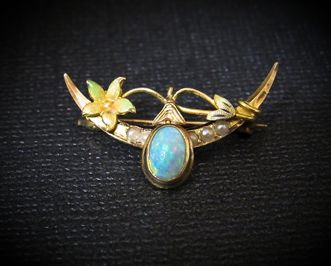 14KT Yellow Gold, Enamel, Opal, & Pearl Antique Pin Brooch