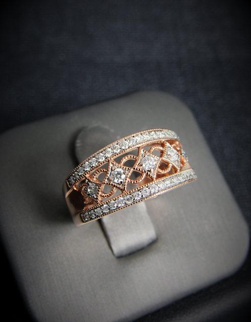 14KT Rose Gold Diamond Filigree Style Ring