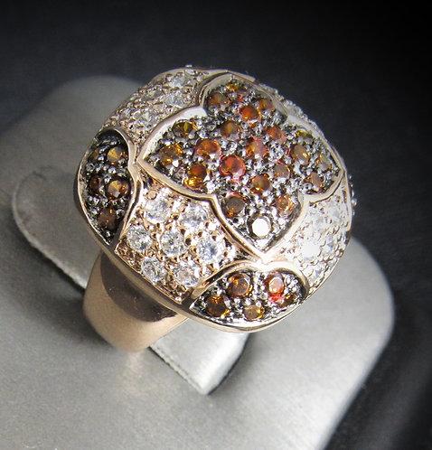 Clover Leaf Orange & White Topaz 14KT Sterling Silver Ring