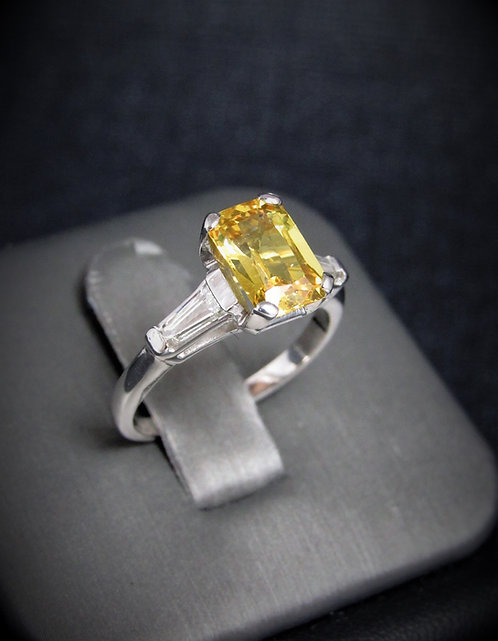 Platinum Yellow Sapphire And Diamond Three Stone Style Engagement Ring