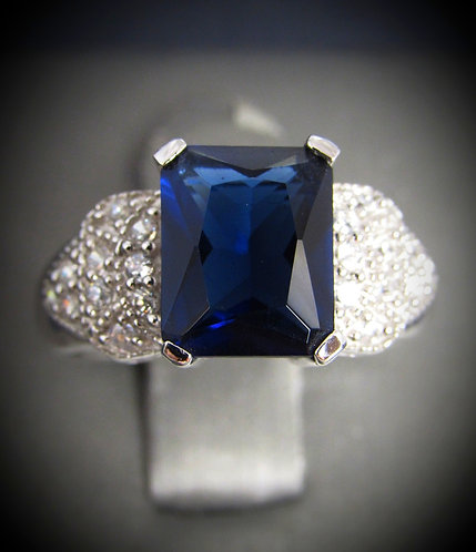 Blue Sapphire & White Topaz Sterling Silver Ring