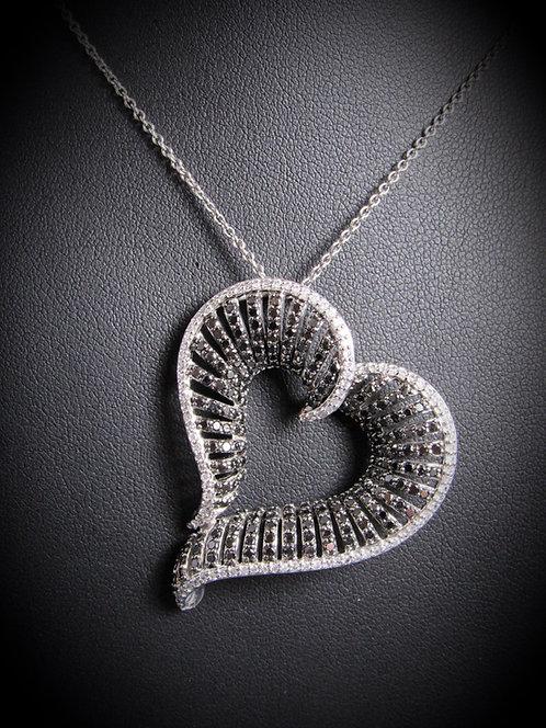 18KT White Gold Black And White Diamonds Fancy Heart Pendant