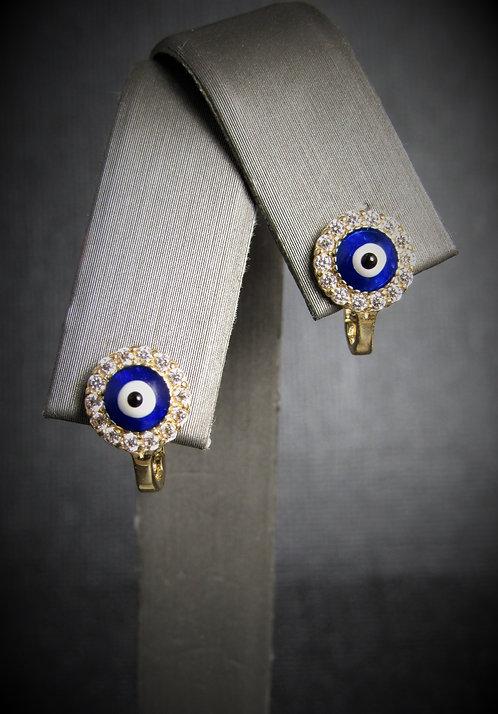 14KT Yellow Gold White Topaz Evil Eye Earrings