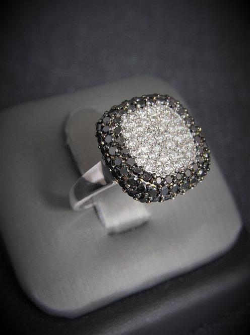 """14KT White Gold Black And White Diamond """"EFFY"""" Ring"""
