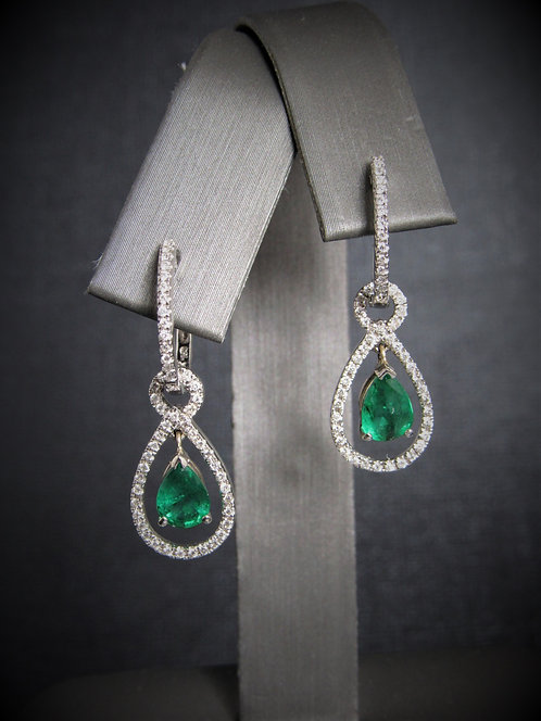 14KT White Gold Diamond And Emerald Dangling Earrings