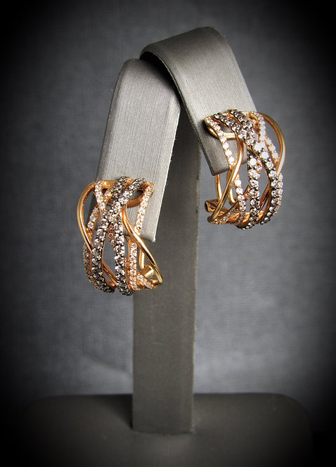 18KT Rose Gold White And Champagne Diamonds Earrings