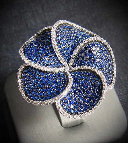 Spiral Flower Blue Sapphire & White Topaz 14KT Gold Plated Sterling Silver Ring