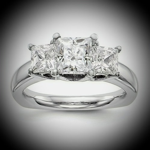 14K White Gold 3-Stone Engagement Mounting