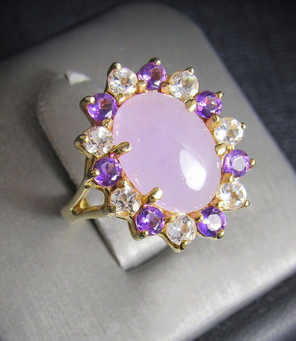 Pink Jade With Amethyst & White Sapphires Gold Plated Sterling Silver Ring