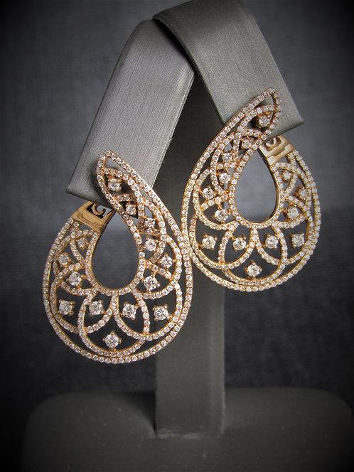14KT Rose Gold Diamond Filigree Fancy Earrings