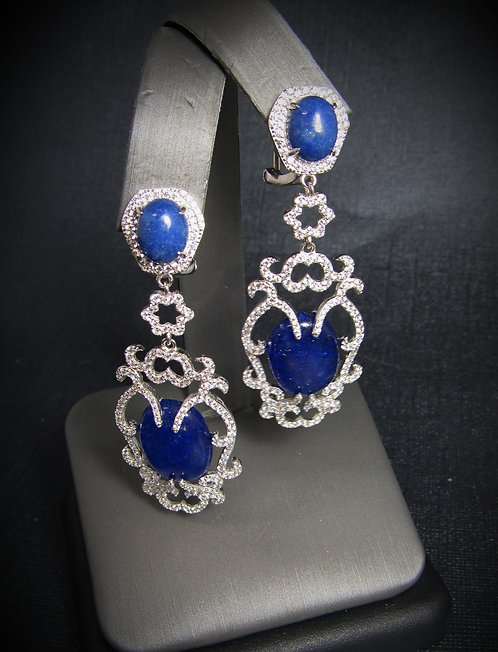 Blue Jade, Sodalite, & White Topaz 14KT Gold Plated Sterling Silver Earrings