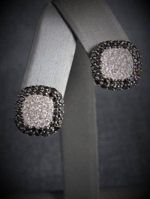 """14KT White Gold Black And White Diamond """"EFFY"""" Earrings"""