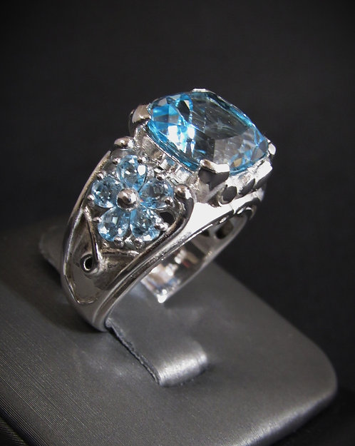 Blue Topaz Flower Prong 18KT Gold Plated Sterling Silver Ring