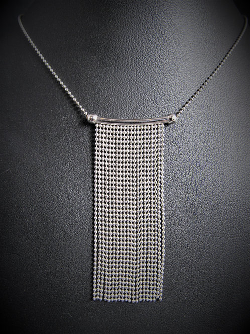 14KT White Gold Multi-Chains Drop Necklace
