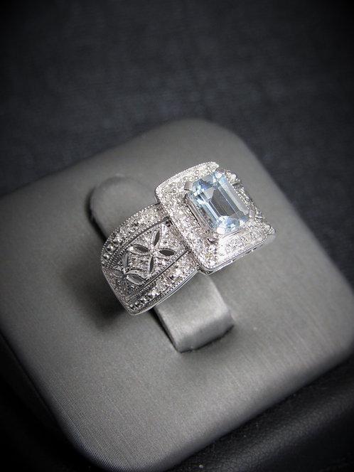 14KT White Gold Diamond And Aquamarine Filigree Style Ring
