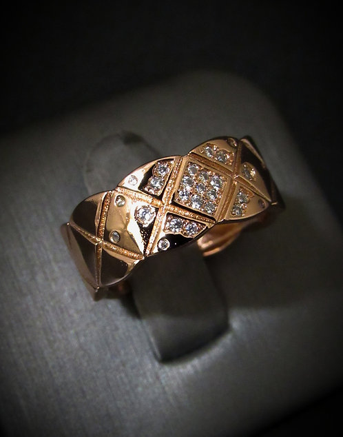 Quilt White Topaz Rose Gold Plated Sterling Silver Ring