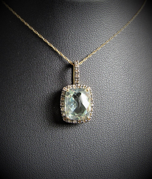 10KT Yellow Gold Champagne Diamond And Green Amethyst Pendant