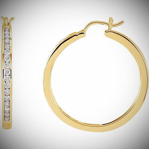 14KT Yellow Gold Channel Style Diamond Hoop Earrings