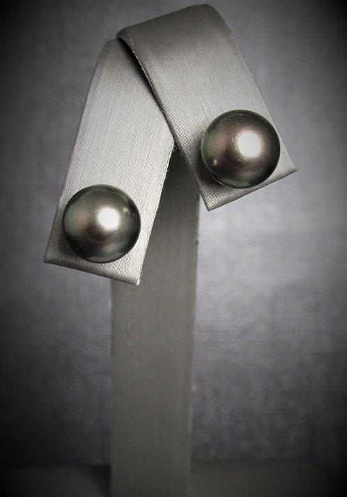 14KT White Gold Tahitian Pearl Stud Style Earrings