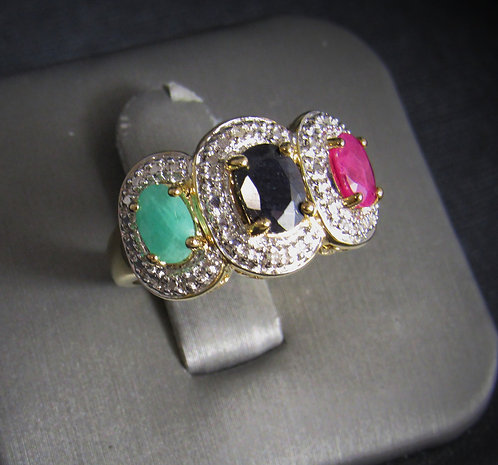 Emerald, Sapphire, & Ruby 14KT Gold Plated Sterling Silver Ring
