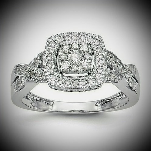 14K White Gold Complete Diamond Cluster Engagement Mounting