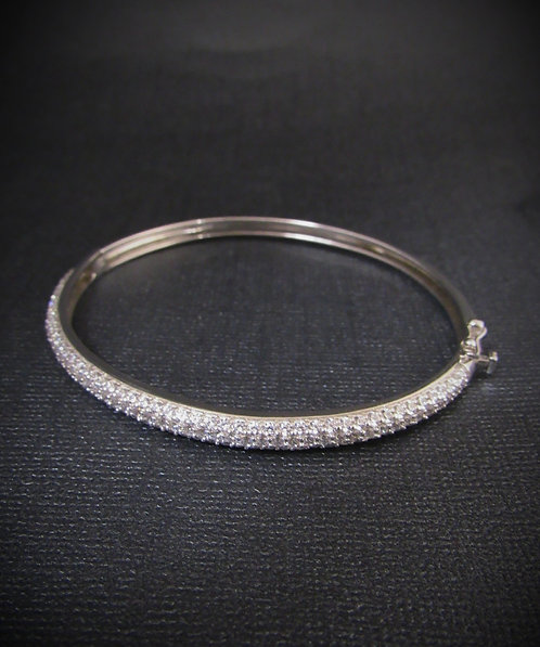 Pavé White Topaz Sterling Silver 14KT White Gold Plated Bangle