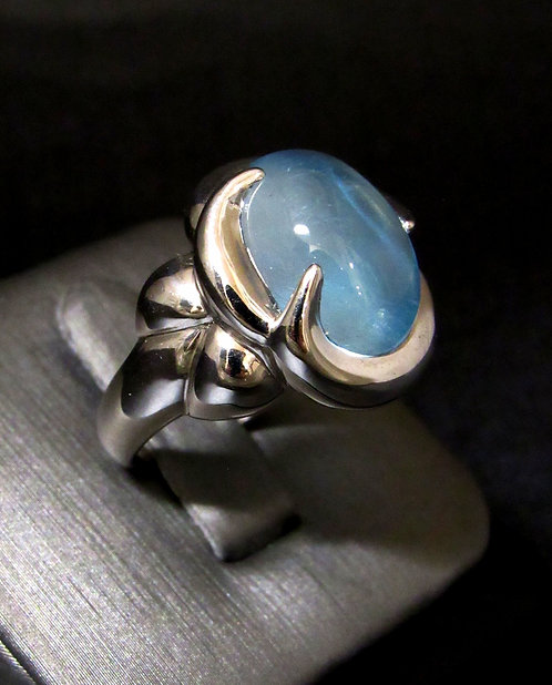 Cabochon Blue Topaz 18KT Gold Plated Sterling Silver Ring